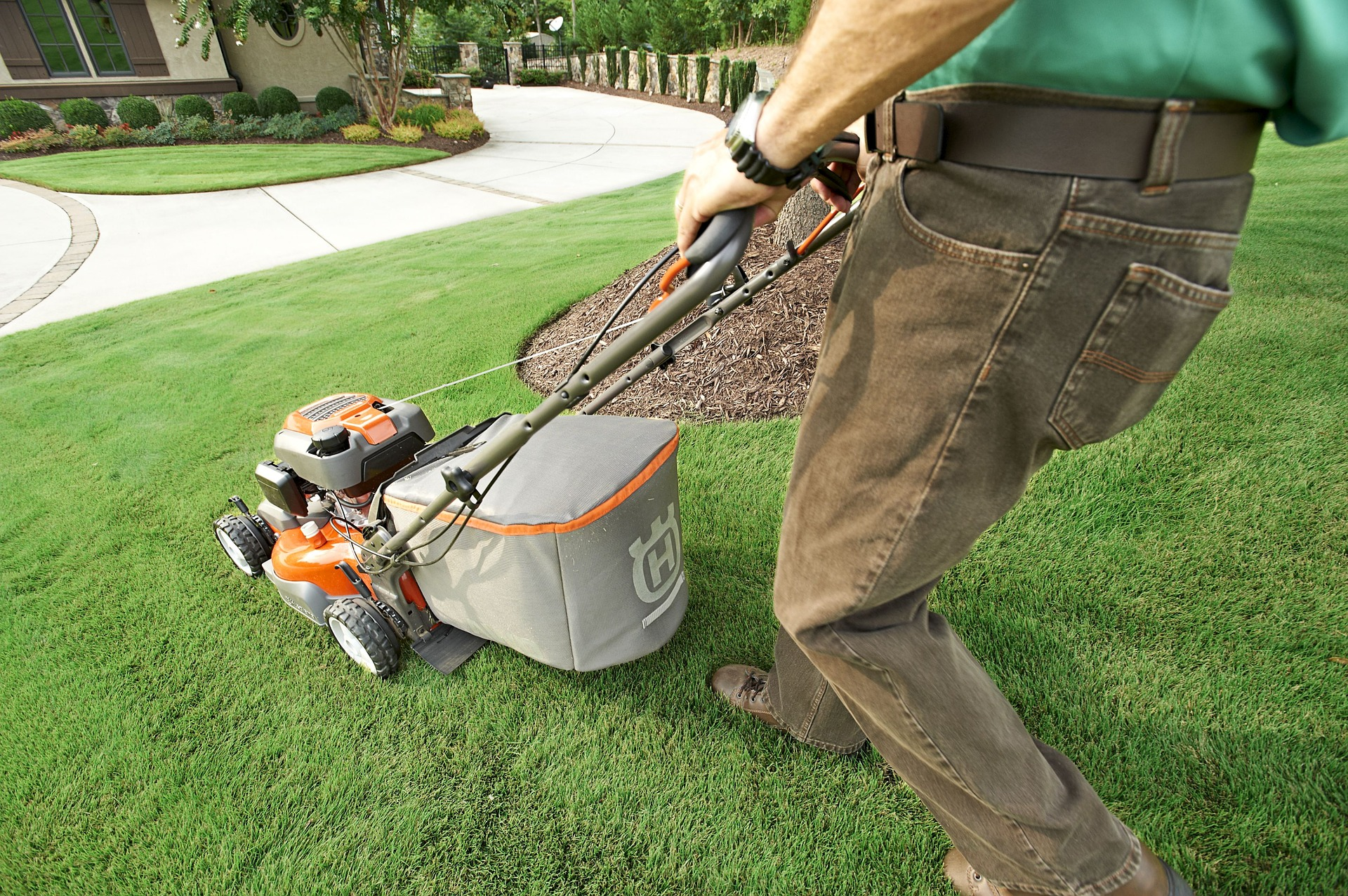 Maintaining a lawn with groundskeeping work